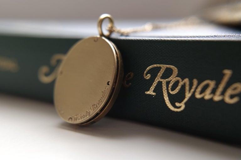 Wendy Brandes Fleur-de-Lis Yellow Gold Oval Pendant Necklace With Silver Details For Sale 1