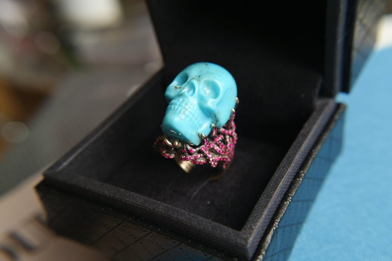 Wendy Brandes Turquoise and Ruby Skull Ring 7