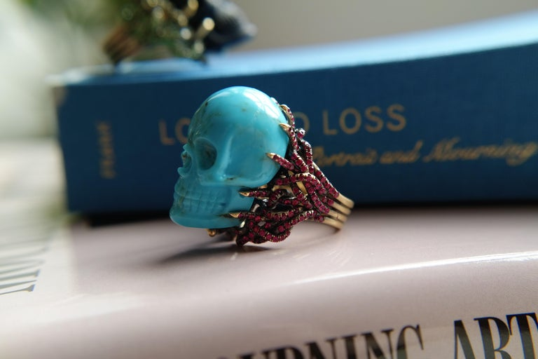 Wendy Brandes Turquoise and Ruby Skull Ring 8