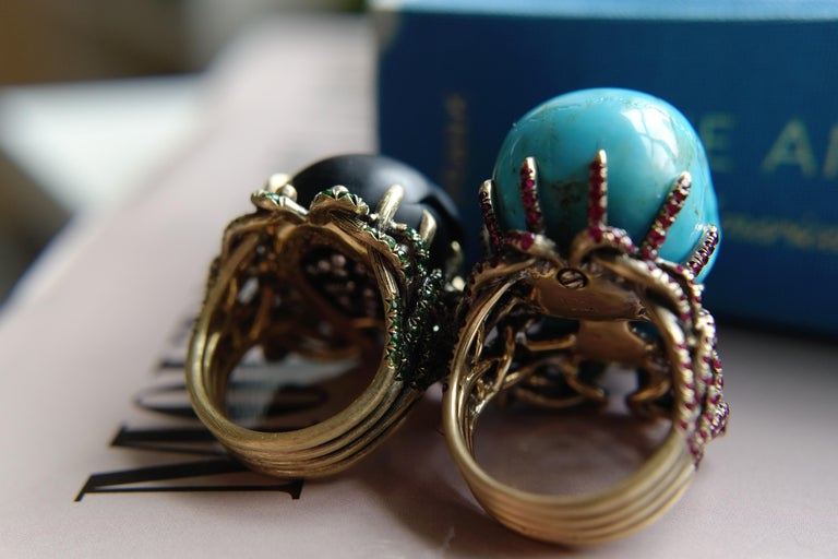 Wendy Brandes Turquoise and Ruby Skull Ring 9
