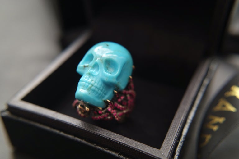 Wendy Brandes Turquoise and Ruby Skull Ring 11