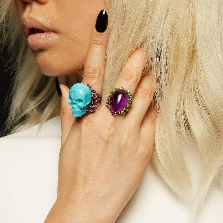 Wendy Brandes Turquoise and Ruby Skull Ring 1