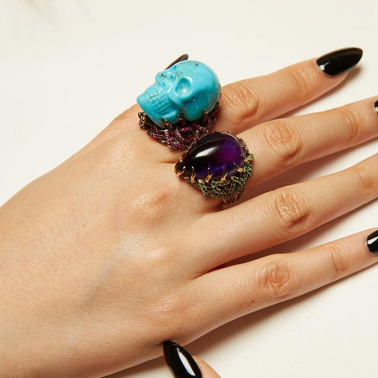 Wendy Brandes Turquoise and Ruby Skull Ring 2