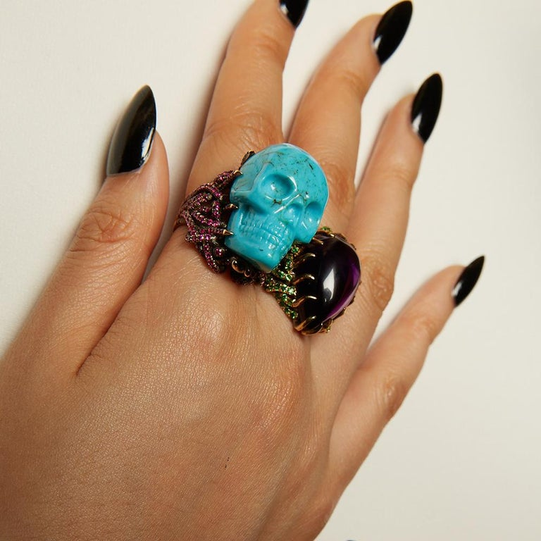 Wendy Brandes Turquoise and Ruby Skull Ring 3