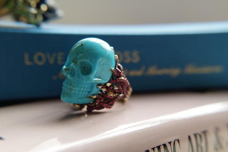 Wendy Brandes Turquoise and Ruby Skull Ring 4
