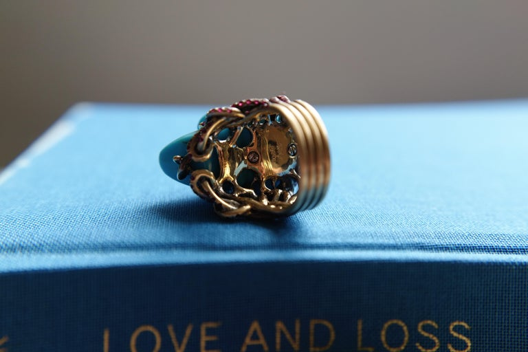 Wendy Brandes Turquoise and Ruby Skull Ring 5