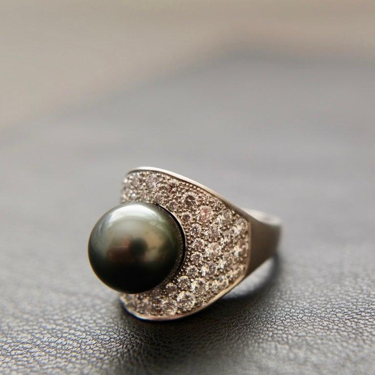 Contemporary Wendy Brandes Night Sky South Sea Pearl Mega Diamond Halo Platinum Ring For Sale