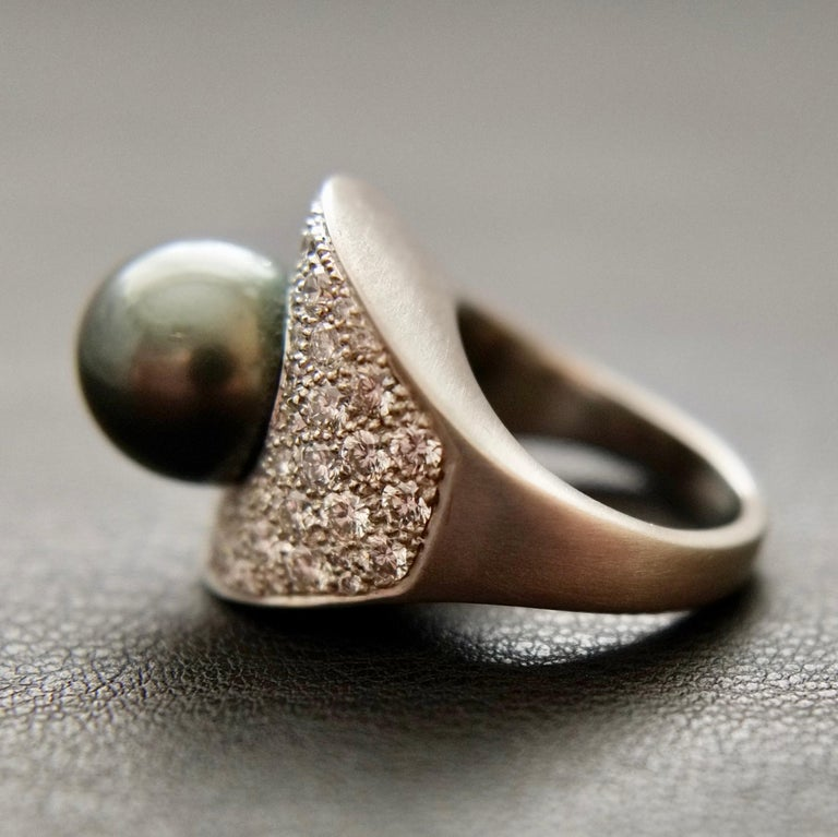 Round Cut Wendy Brandes Night Sky South Sea Pearl Mega Diamond Halo Platinum Ring For Sale