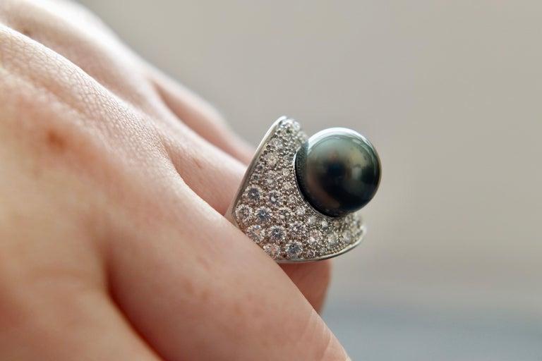 Women's Wendy Brandes Night Sky South Sea Pearl Mega Diamond Halo Platinum Ring For Sale