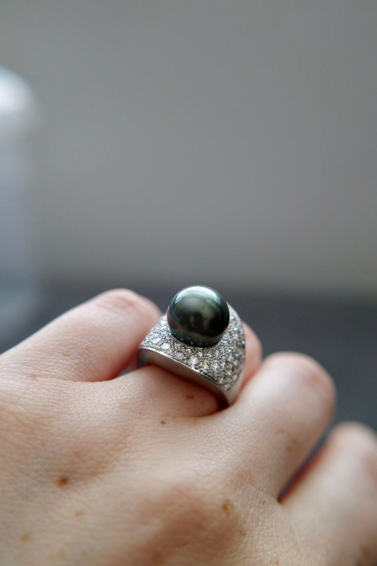 Wendy Brandes Night Sky South Sea Pearl Mega Diamond Halo Platinum Ring For Sale 1