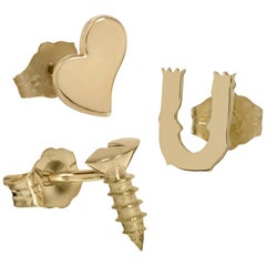 """Wendy Brandes """"Bad Romance"""" 18K Gold Heart and Screw Stud Earring Trio"""