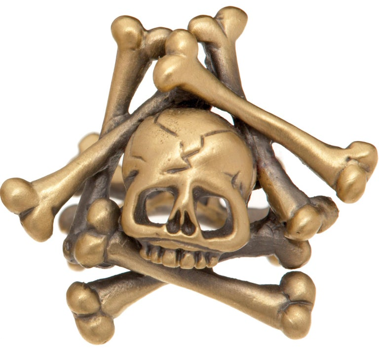 18K yellow gold, satin finish.  Black rhodium detail. Limited-edition. Made in New York City.  Wendy Brandes Gold Collection.  Skull imagery has long been used in memento mori jewelry. The Latin phrase