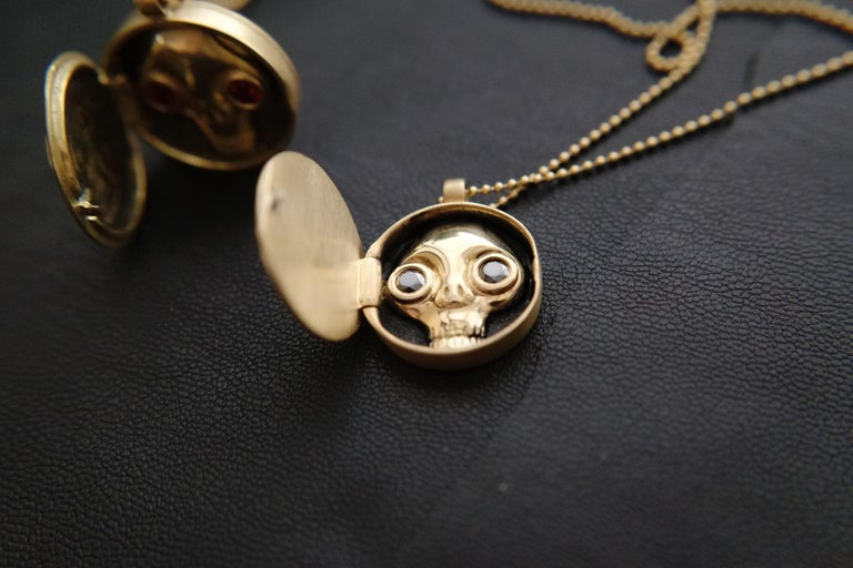 Wendy Brandes Memento Mori Skull Gold Locket Necklace With Black Diamonds For Sale 5