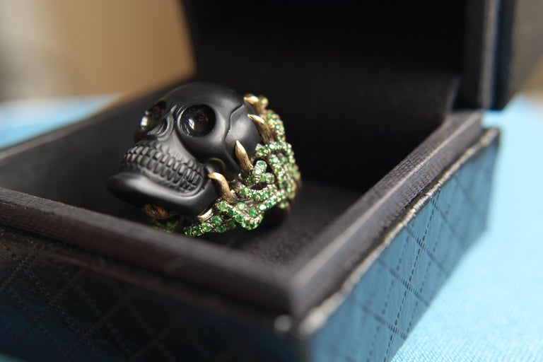 Wendy Brandes Onyx and Green Garnet Skull Ring For Sale 6