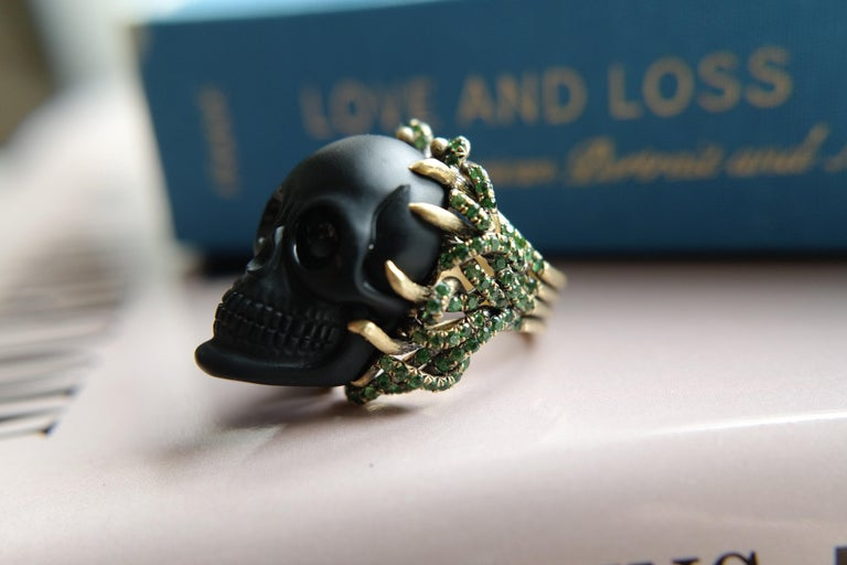 Wendy Brandes Onyx and Green Garnet Skull Ring For Sale 8