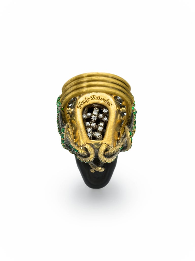 Contemporary Wendy Brandes Onyx and Green Garnet Skull Ring For Sale