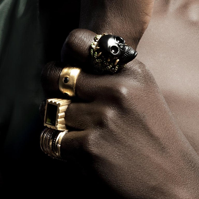 Wendy Brandes Onyx and Green Garnet Skull Ring For Sale 2