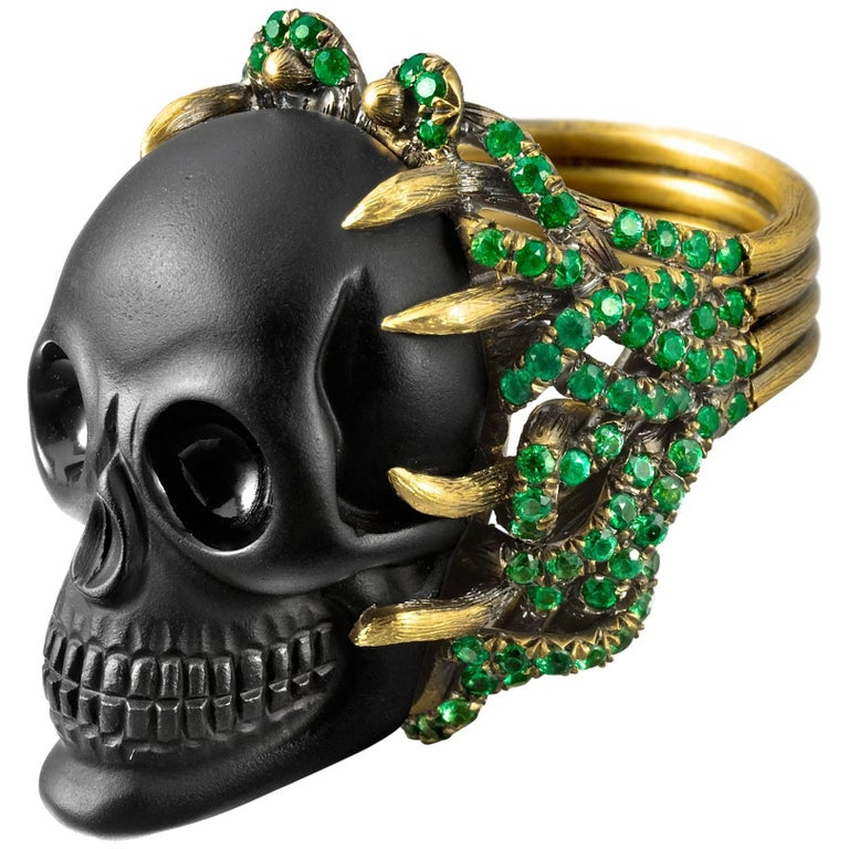Wendy Brandes Onyx and Green Garnet Skull Ring For Sale