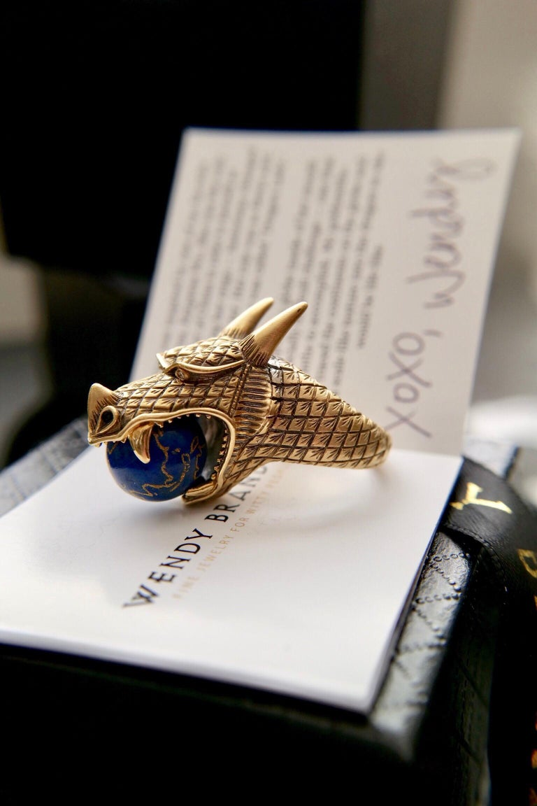 Wendy Brandes Khaleesi Dragon Empress Lapis Lazuli Globe Diamond Gold Ring In New Condition For Sale In New York, NY