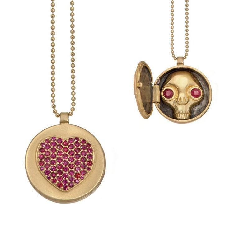 Wendy Brandes One-of-a-Kind Skull (inside) Gold Ruby Heart Locket Necklace For Sale