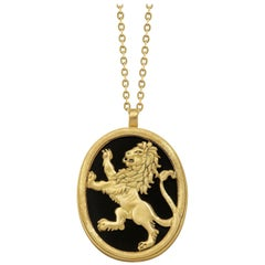 Wendy Brandes Onyx Diamond Gold Statement Lion Animal Pendant Necklace