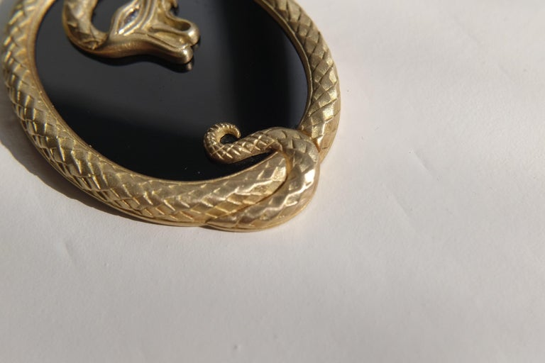 Contemporary Wendy Brandes Onyx Slice Ouroboros Yellow Gold Snake Pendant Necklace For Sale