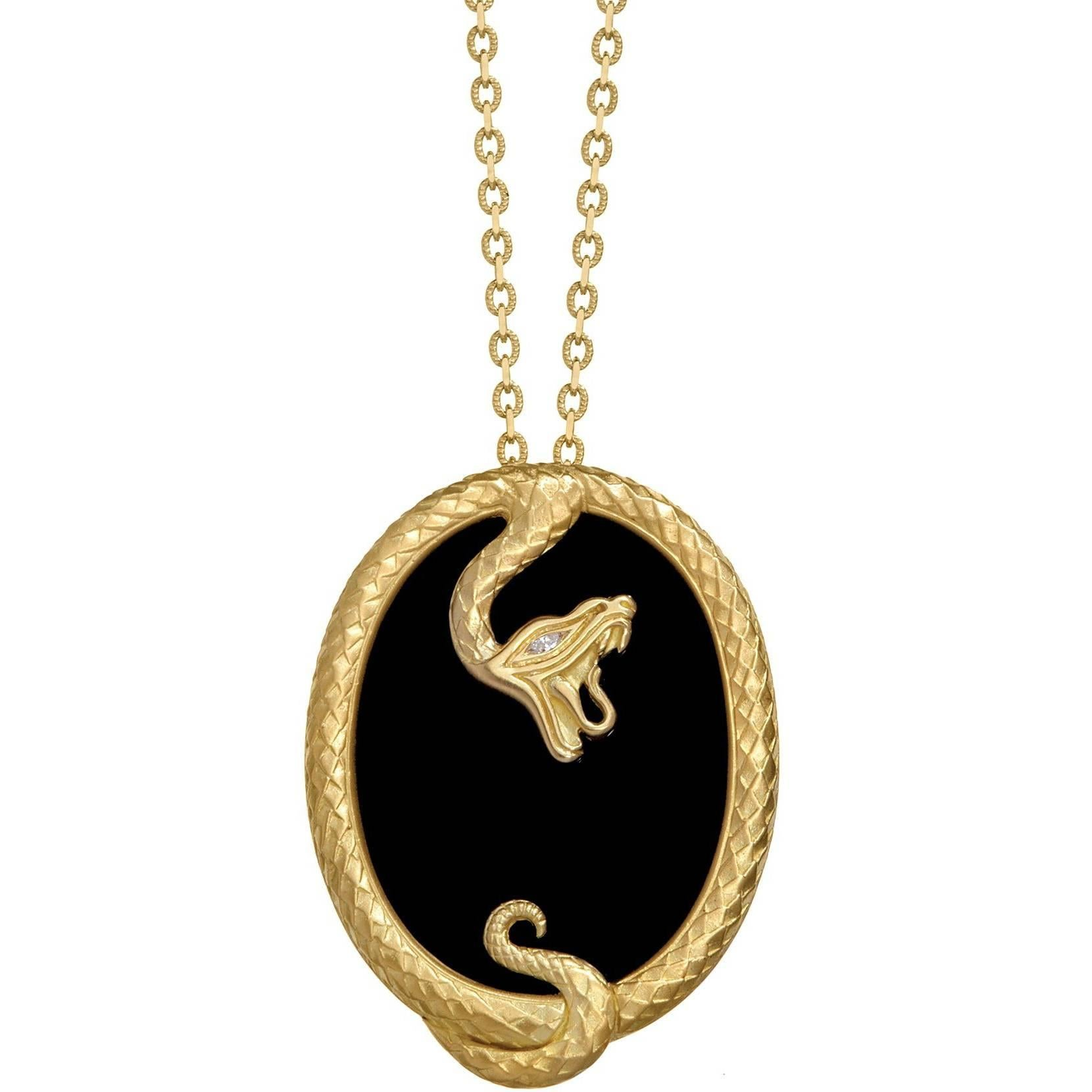 Wendy Brandes Onyx and Yellow Gold Snake Pendant Necklace