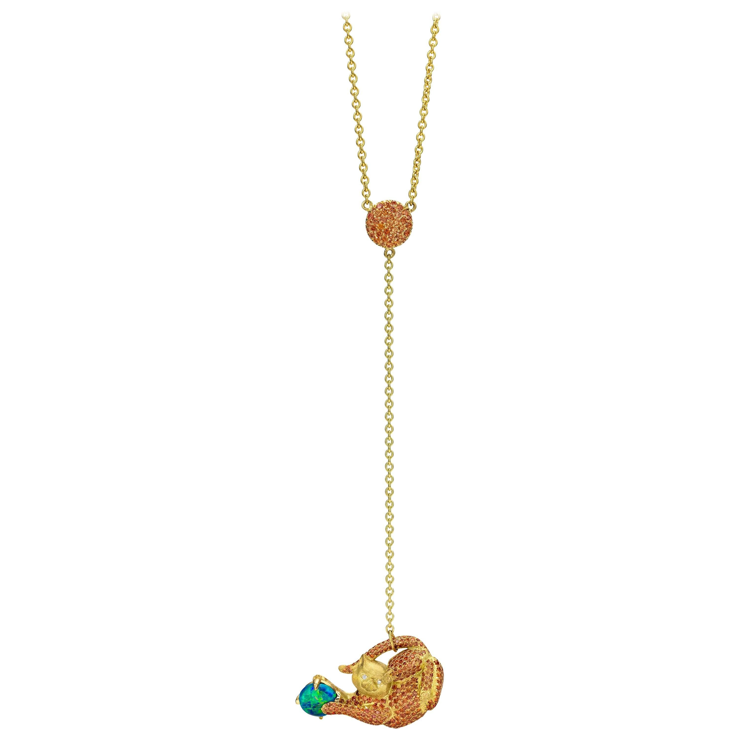Wendy Brandes 18K Gold Cat Lariat Necklace With Orange Sapphires and Opal