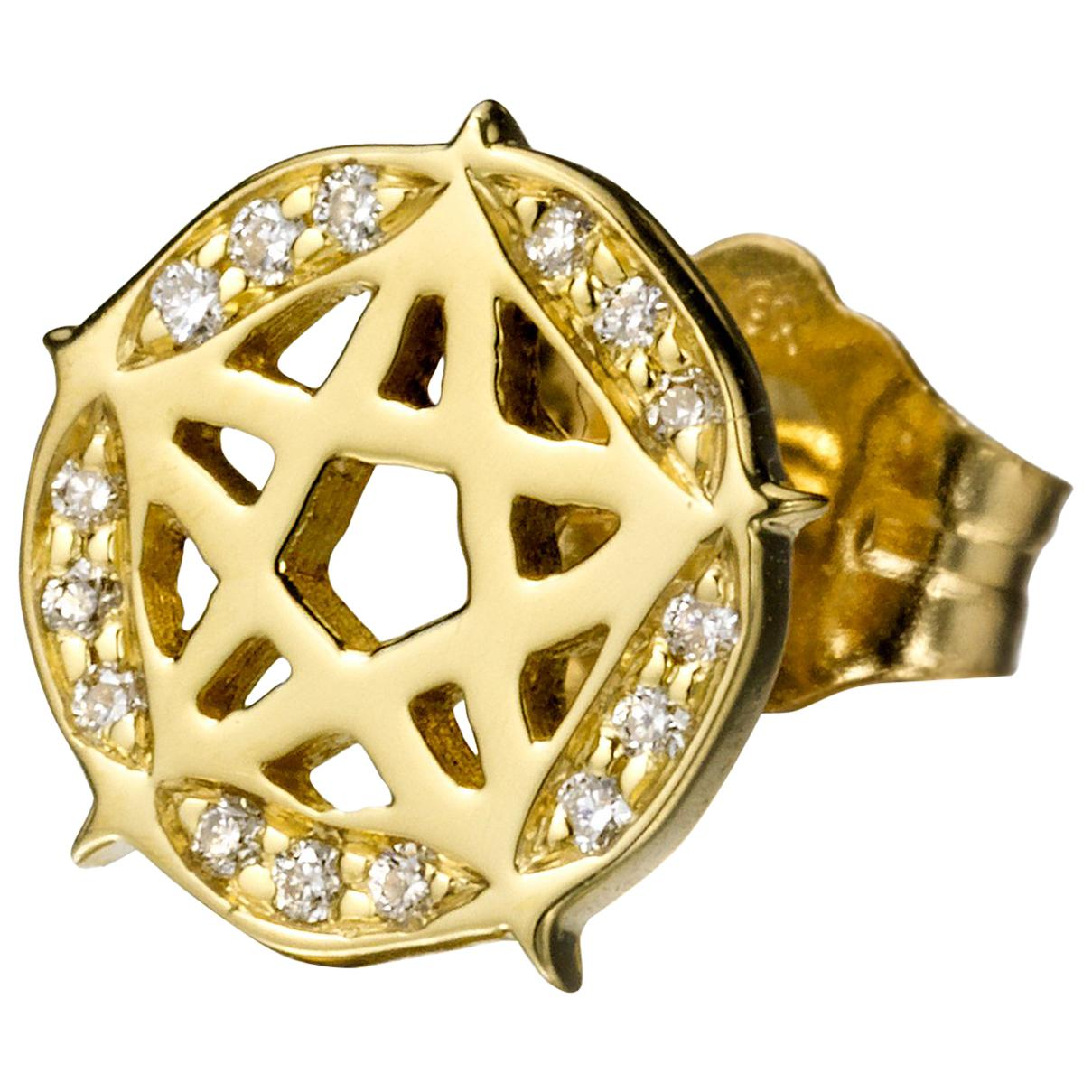 Wendy Brandes Punk Pentagram Star 18K Gold Pave Diamond Stud Earring, Single