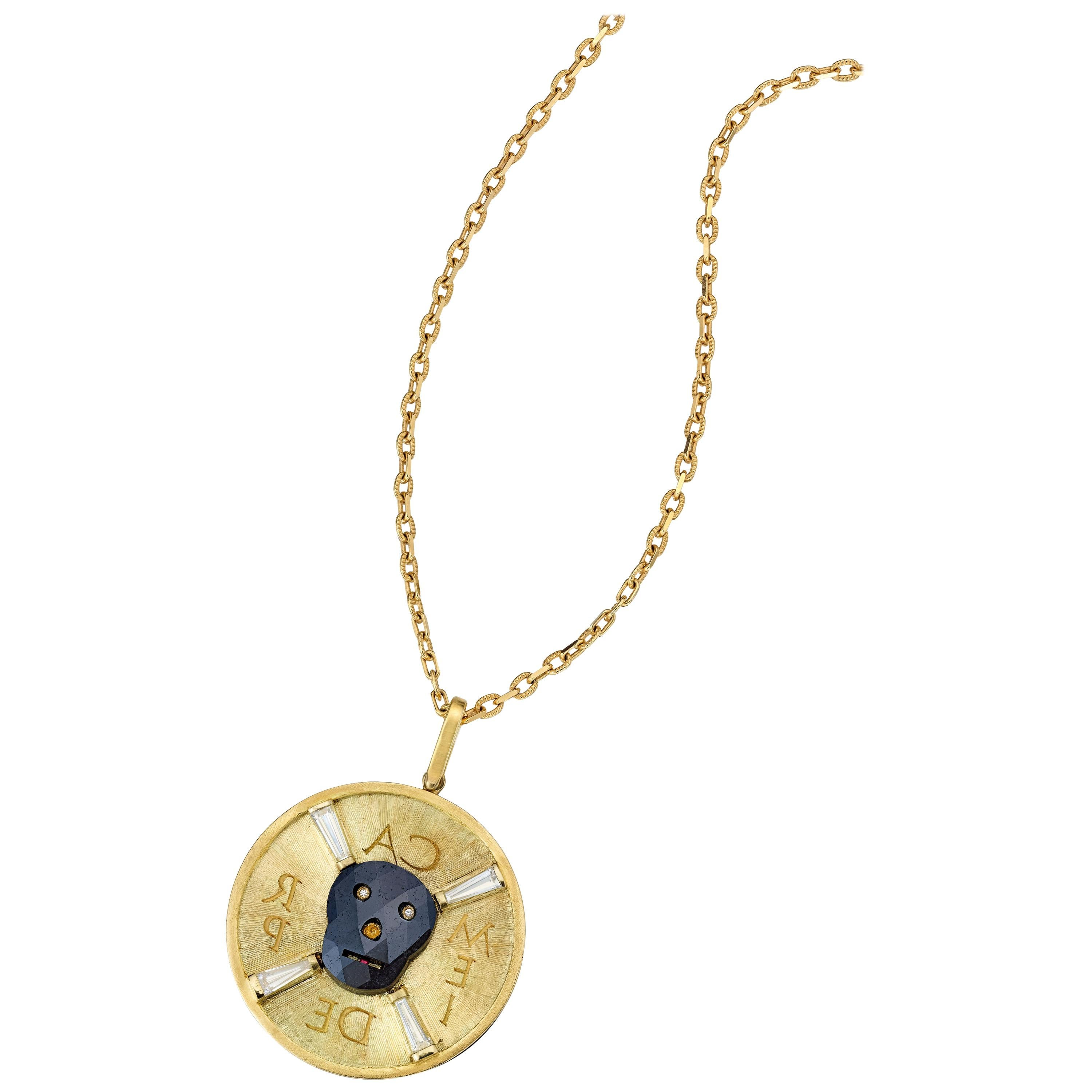 Wendy Brandes Black-Diamond and Gold Skull Necklace With Mirror Writing