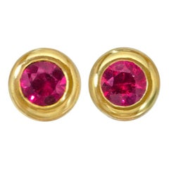 Wendy Brandes Ruby Birthstone Micro 18 Karat Yellow Gold Stud Earrings