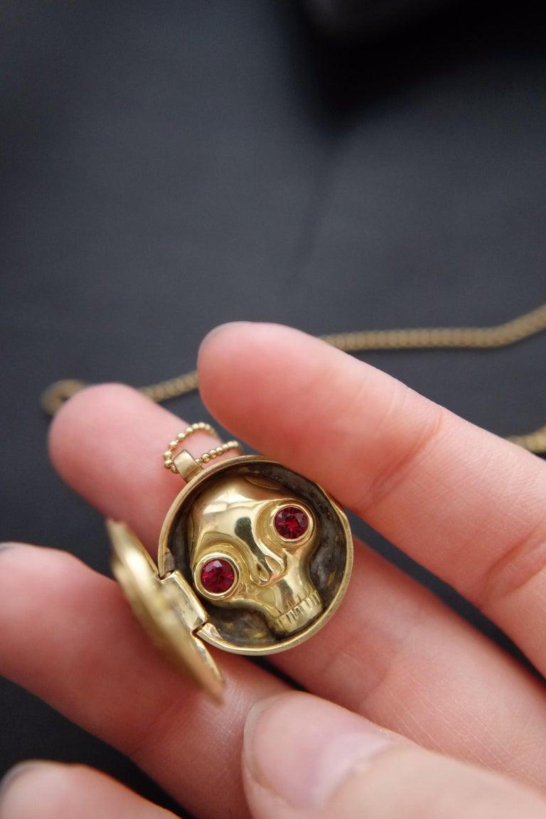 Wendy Brandes One-of-a-Kind Skull (inside) Gold Ruby Heart Locket Necklace For Sale 1