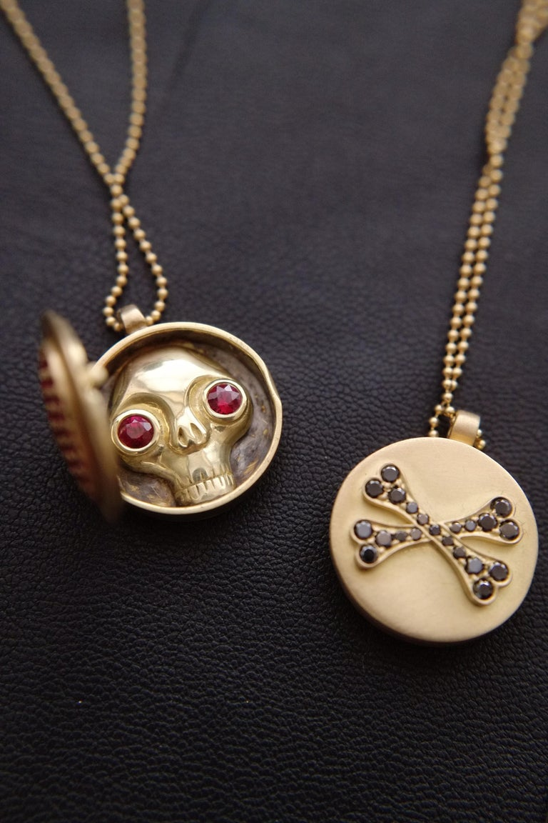 Wendy Brandes Ruby Heart Locket/Mechanical Memento Mori Skull Gold Necklace For Sale 1