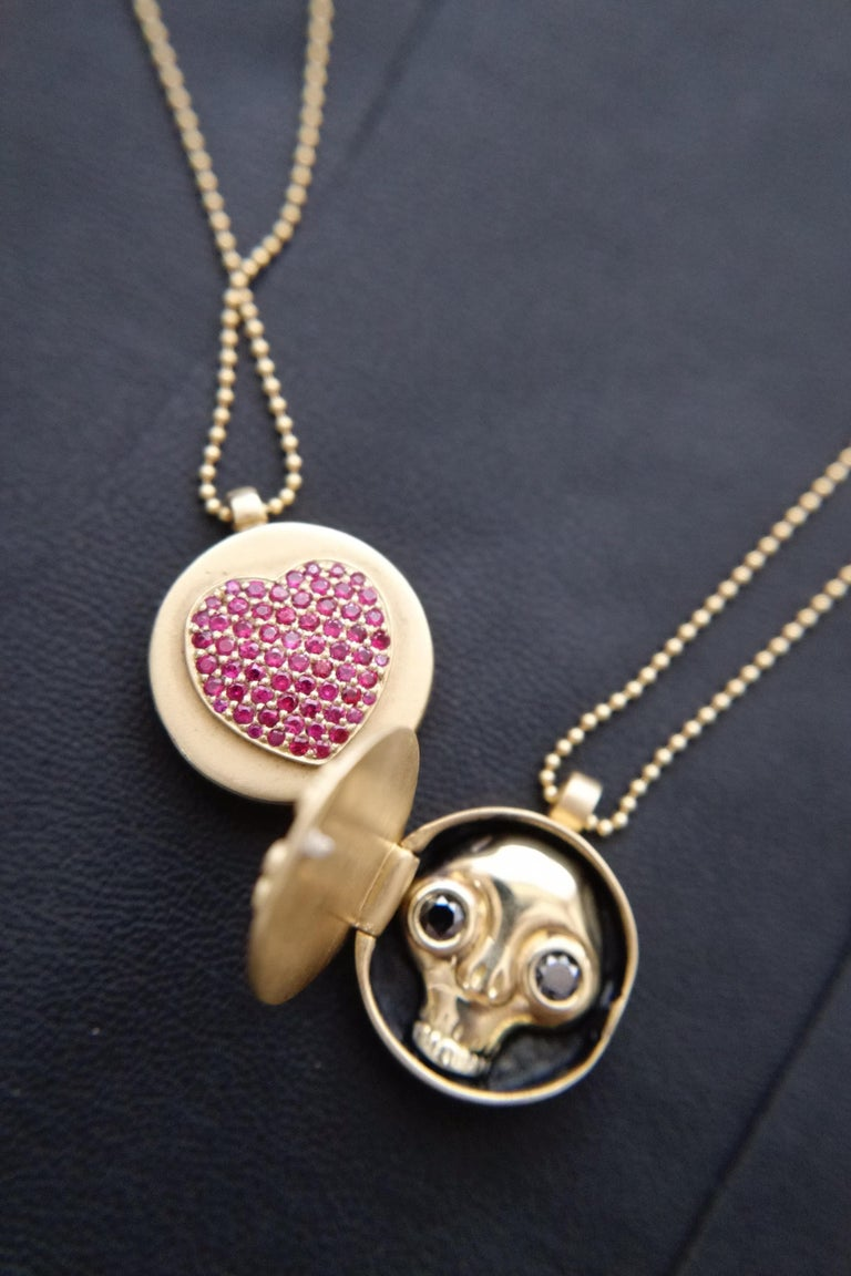Wendy Brandes Ruby Heart Locket/Mechanical Memento Mori Skull Gold Necklace For Sale 3