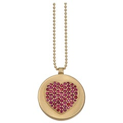 Wendy Brandes Ruby Heart Locket/Mechanical Memento Mori Skull Gold Necklace