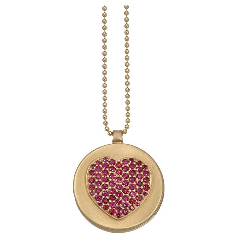Wendy Brandes Ruby Heart Locket/Mechanical Memento Mori Skull Gold Necklace For Sale
