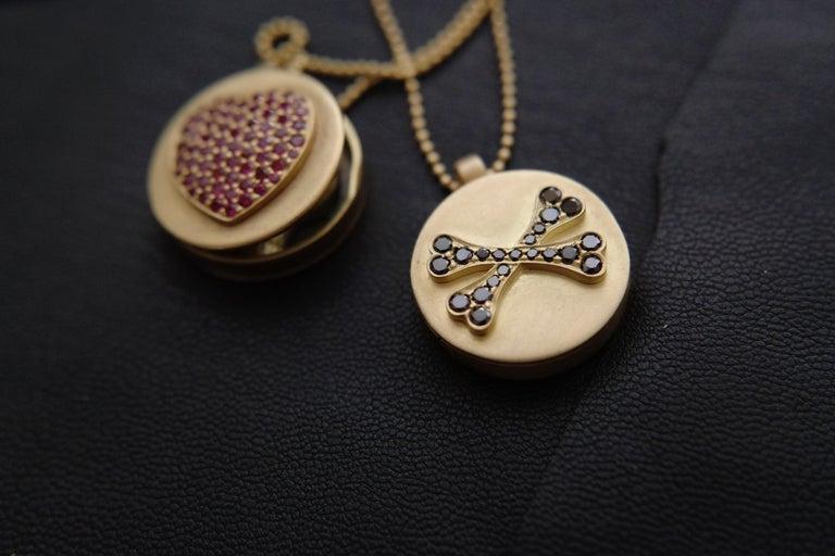 Wendy Brandes Memento Mori Skull Gold Locket Necklace With Black Diamonds For Sale 3