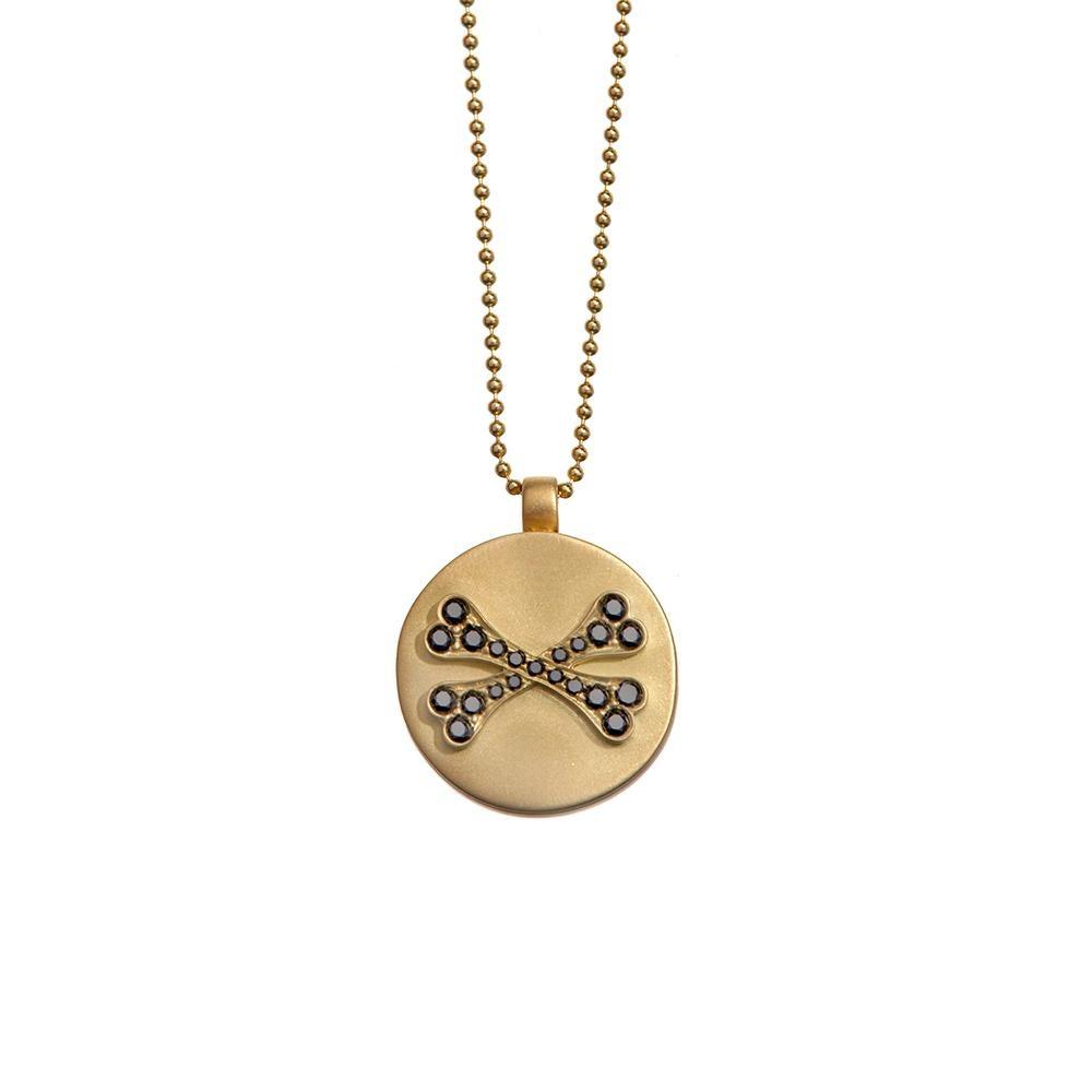 Wendy Brandes Memento Mori Skull Gold Locket Necklace With Black Diamonds