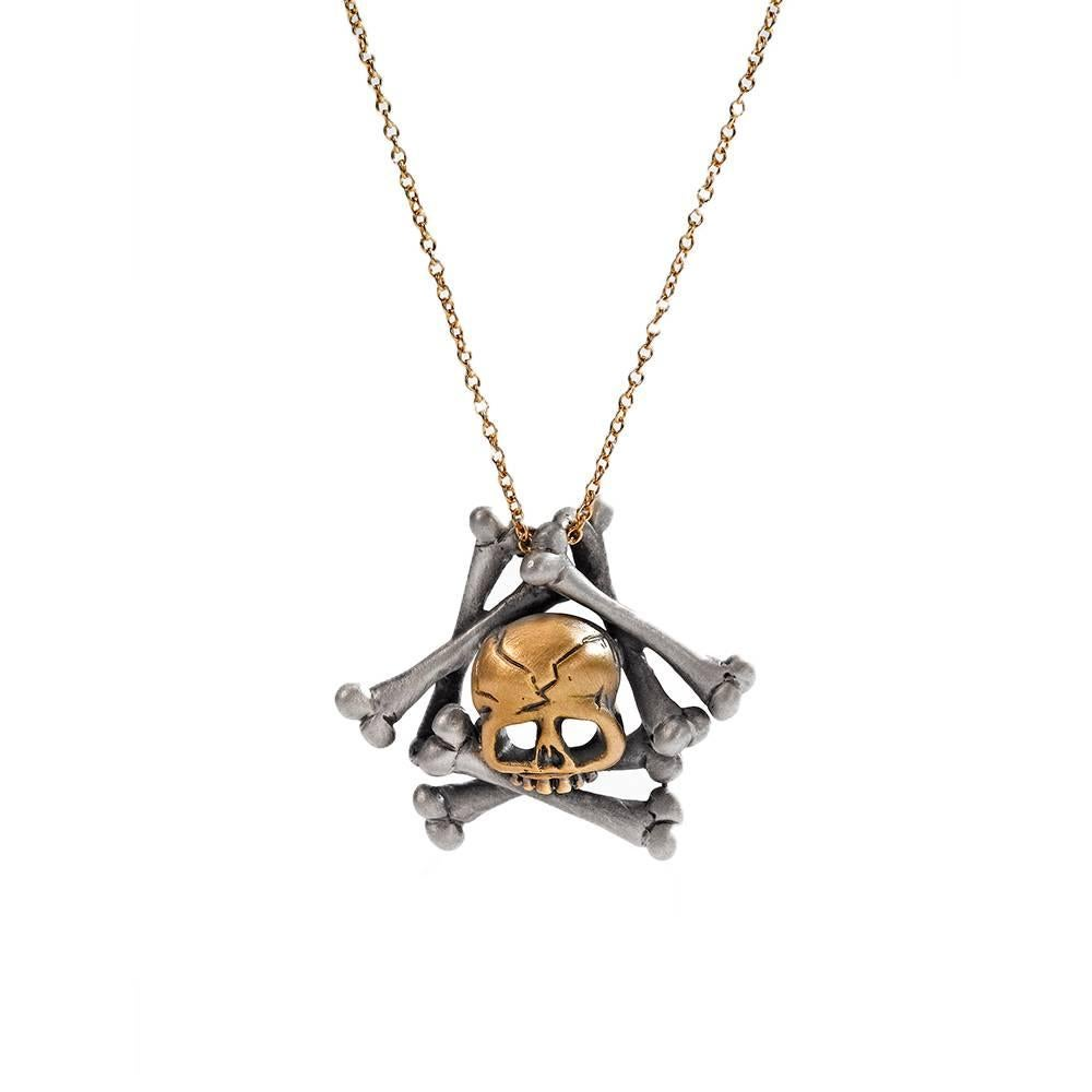 Wendy Brandes Memento Mori Skull and Bones 18K Gold and Silver Necklace