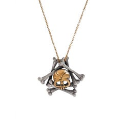 Wendy Brandes Memento Mori Skull and Bones Mixed Metal Silver and Gold Necklace