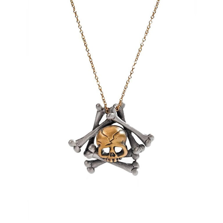 Wendy Brandes Memento Mori Skull and Bones 18K Gold and Silver Necklace For Sale