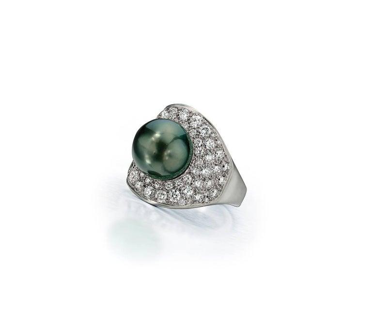 Wendy Brandes Night Sky South Sea Pearl Mega Diamond Halo Platinum Ring For Sale 3