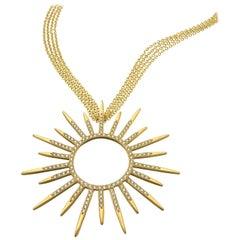 Wendy Brandes Statement Starburst 2 Carat Diamond and Gold Pendant Necklace