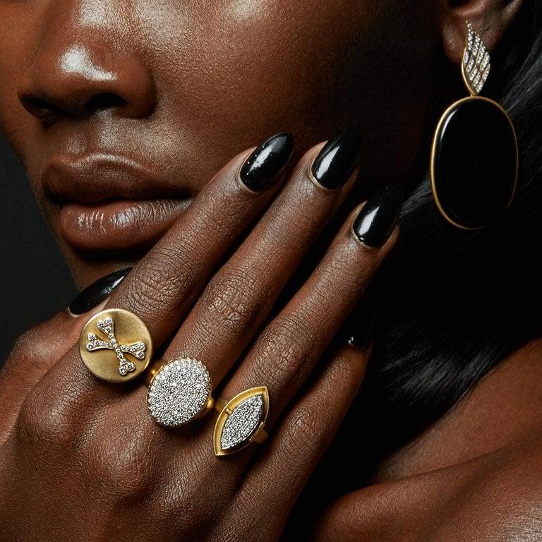 Contemporary Wendy Brandes Unisex Skull Bones Locket/Mechanical Signet Diamond Sapphire Ring For Sale