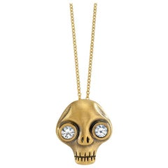 Wendy Brandes White Sapphire Eyes Memento Mori Skull Gold Pendant Necklace