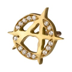 Wendy Brandes Yellow Gold and Diamond Anarchy Punk Stud Earrings