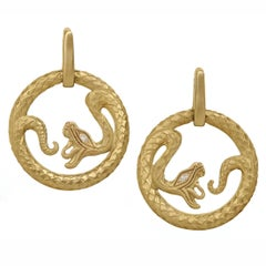 Wendy Brandes Yellow Gold Circle Ouroboros Serpent Snake Comfortable Earrings