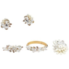Wendy Gell Faux-Pearl Demi-Parure Earrings, Bangle Bracelet and Two Brooches