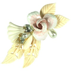 Wendy Gell Jeweled Floral Assemblage Brooch