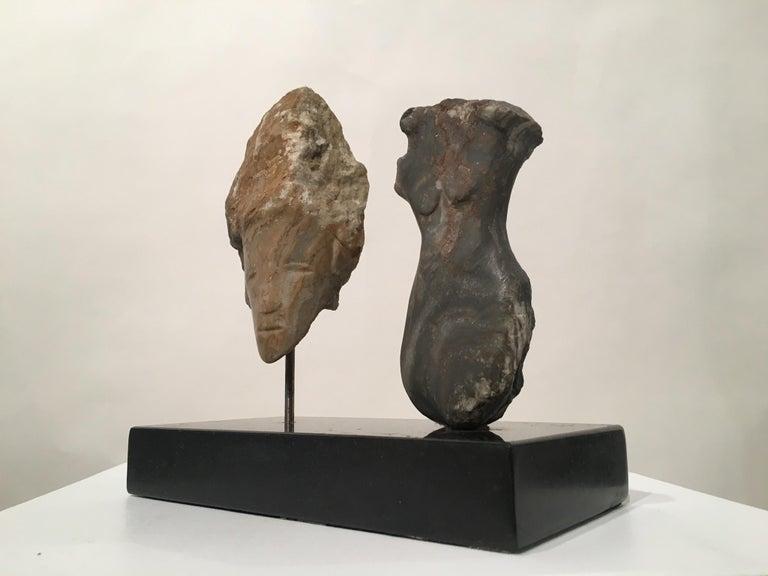 Carved Wendy Hendelman Alabaster Head and Torso Sculpture, 2015 For Sale